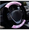 Contrast Color Floral Style Design Flush Material Warm Car Steering Wheel Cover