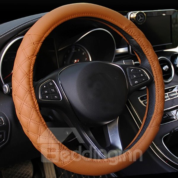 Popular Leather Material Grid Design Hot Universal Car Steering Wheel Cover