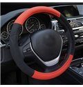 Real Leather Material Durable Contrast Color Style Design Universal Car Steering Wheel Cover