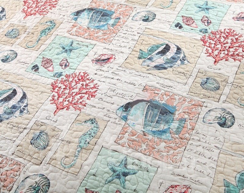 Lovely Fish Print Cotton 3-Piece Bed in a Bag