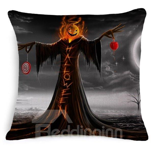 3D Happy Halloween Print Cotton Throw Pillow Case
