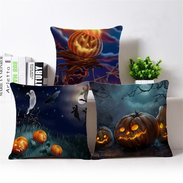 Chic 3D Halloween Pumpkin Printed Cotton Throw Pillow Case