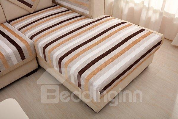 Modern Simple Chenille Brown Strips Print Four Seasons Slip Resistant Sofa Covers