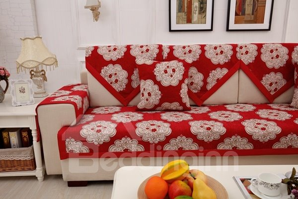 Modern Simple Red Chenille Flower Print Four Seasons Home Decorative Sofa Covers
