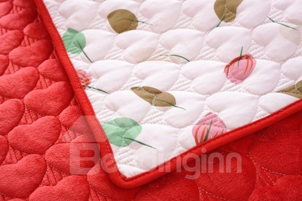 Red Double-sided Quilting Heart Shaped Cushion Slip Resistant Sofa Covers