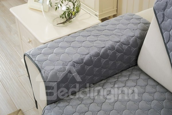 Grey Double-sided Quilting Heart Shaped Cushion Slip Resistant Sofa Covers