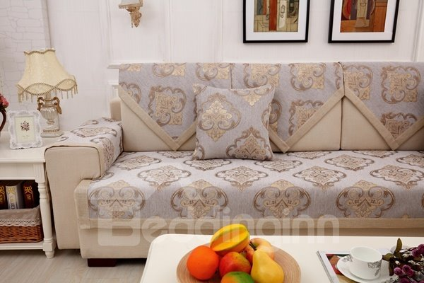 European Style Grey Simple Chenille Flower Print Four Seasons Home Decorative Sofa Covers