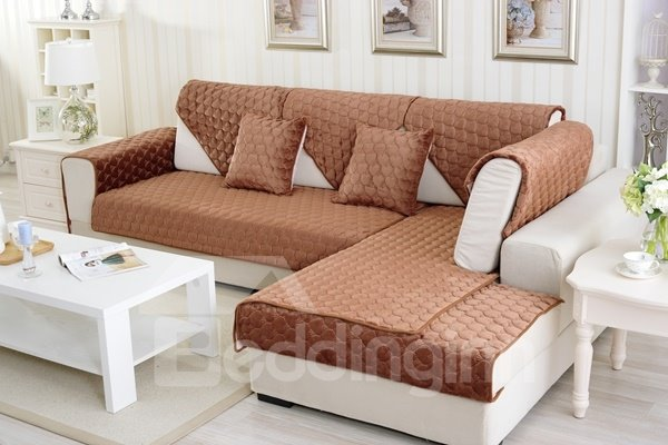 Brown Double-sided Quilting Heart Shaped Cushion Slip Resistant Sofa Covers