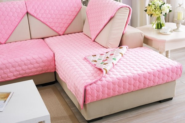 Pink Double-sided Quilting Heart Shaped Cushion Slip Resistant Sofa Covers