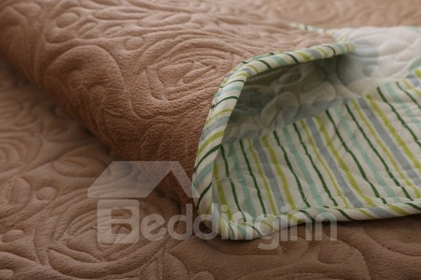 Brown Double-sided Plant Print Quilting Cushion Slip Resistant Sofa Covers
