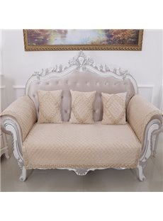 Classical Beige Velvet Embroidery Design Cushion Slip Resistant Sofa Covers