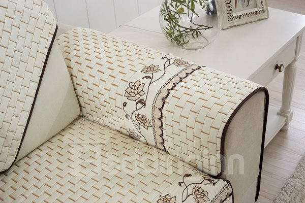 Double-sided White Flower Print Cushion Slip Resistant Sofa Covers
