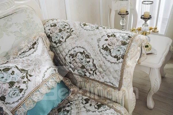 Non-slip Blue European Style Flower Prints With Lace Home Decorative Sofa Covers