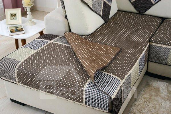 Modern Fashion Grey Splicing Plaid Cushion Slip Resistant Sofa Covers