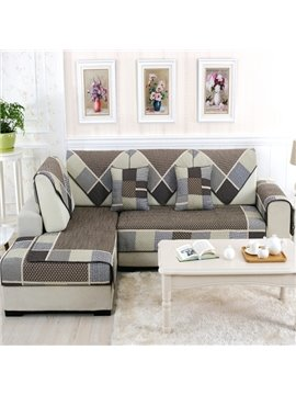 Modern Fashion Grey Splicing Plaid Cushion Slip Resistant Sofa Covers