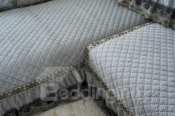 Elegant Blue Plush Thicken Quilting with Lace Peplum Slip Resistant Four Season Sofa Covers