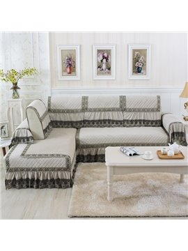 Elegant White Plush Thicken Quilting with Lace Peplum Slip Resistant Four Season Sofa Covers