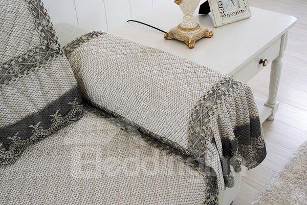 Elegant White Plush Thicken Quilting with Lace Peplum Slip Resistant Four Season Sofa Covers