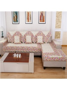 Colorful Polyester Fiber Flowers Print Slip Resistant Decorative Sofa Covers