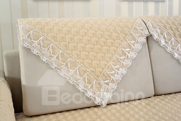 Practical Beige Quilting Cushion with Lace Slip Resistant Soft Sofa Covers