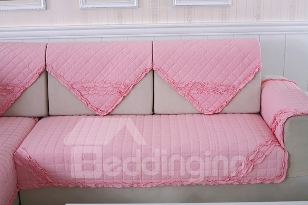 Pink Comfortable Cotton Quilting Cushion with Lace Slip Resistant Sofa Covers