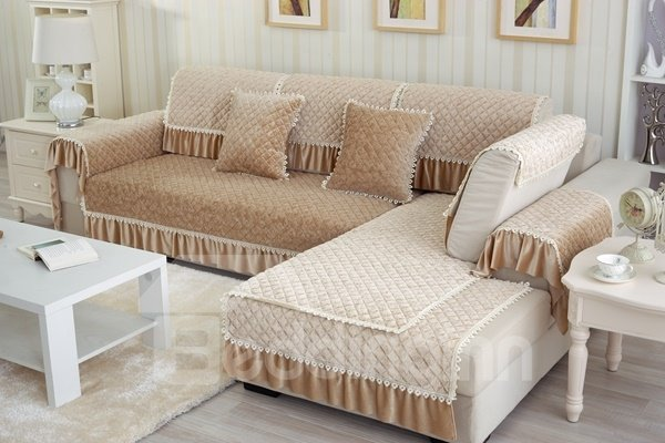 Simple Style Beige Plush Quilting Flower Print Cushion Slip Resistant Sofa Covers