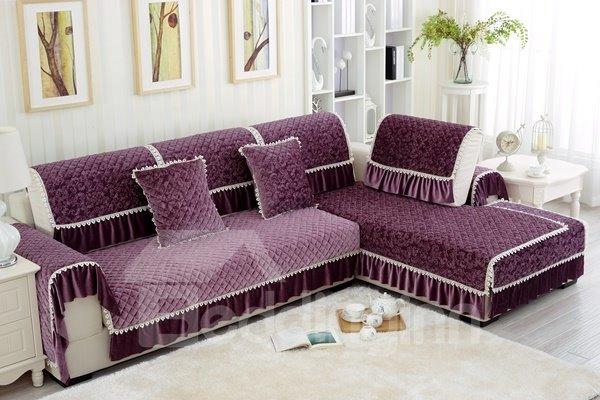 Elegant Purple European Style Plush Quilting Cushion Slip Resistant Sofa Covers