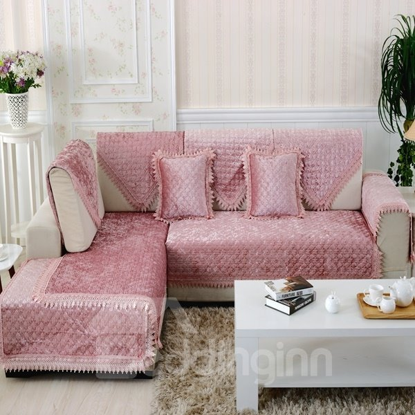 Lovely Pink Plush Thicken Pleuche Design Slip Resistant Sofa Covers