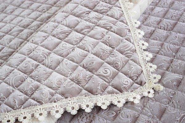 European Style Grey Flower Print Plush Quilting Cushion Slip Resistant Sofa Covers