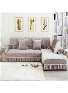 European Style Grey Flower Print Plush Quilting Cushion Slip Resistant Sofa Covers