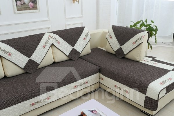 Wonderful Grey with White Flower Pattern Edge Slip Resistant Soft Sofa Covers