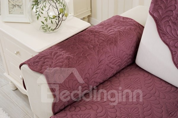 Red Plush Quilting Phoenix-tail Print Four Seasons Slip Resistant Sofa Covers
