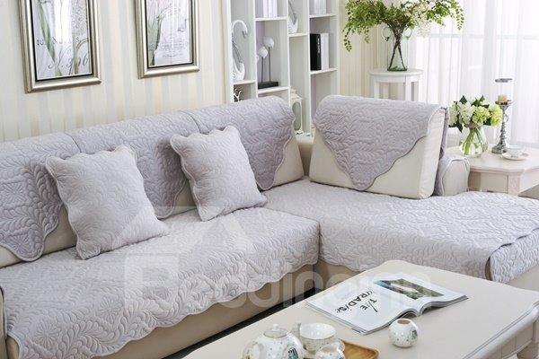 Purple Plush Quilting Phoenix-tail Print Four Seasons Slip Resistant Sofa Covers