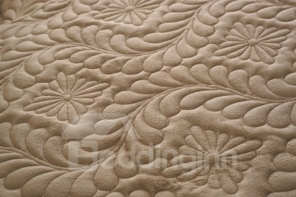 Camel Plush Quilting Phoenix-tail Print Four Seasons Slip Resistant Sofa Covers