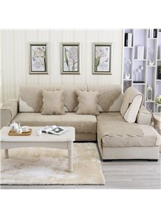 Grey Plush Quilting Phoenix-tail Print Four Seasons Slip Resistant Sofa Covers
