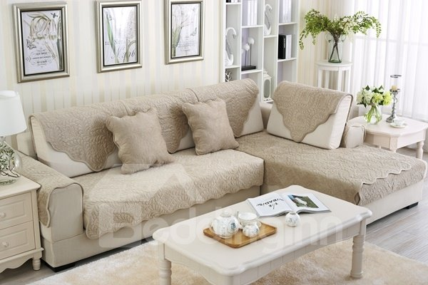 Grey Plush Quilting Phoenix-tail Print Four Seasons Slip Resistant Sofa Covers