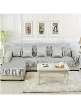 Delicate Beige Cushion Slip Resistant With Beautiful Peplum Quilting Sofa Covers