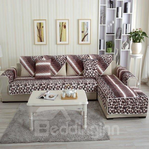 Unique Design Thicken Flannel Beautiful Leopard Print Design Cushion Slip Resistant Sofa Covers
