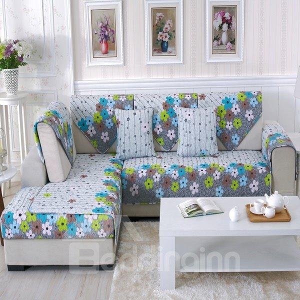 Modern Fashion Cotton Quilting Seam Flower Print Cushion Slip Resistant Sofa Covers