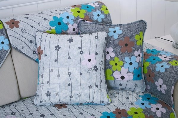 Modern Fashion Cotton Quilting Seam Flower Print Cushion Slip Resistant Sofa Covers