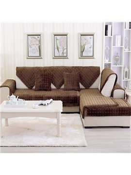 Comfortable Brown Thicken Flannel Four Seasons Square Block Design Slip Resistant Sofa Covers