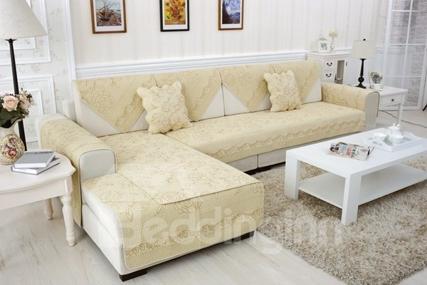 Soft Beige Embroidery Roses Print Design Slip Resistant Sofa Covers