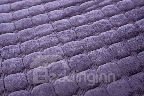 Purple Comfortable Thicken Flannel Four Seasons Square Block Design Slip Resistant Sofa Covers