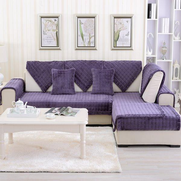Purple Comfortable Thicken Flannel Four Seasons Square Block Design Slip Resistant Sofa Covers
