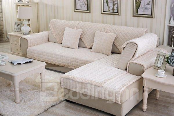 Beige Comfortable Thicken Flannel Four Seasons Square Block Design Slip Resistant Sofa Covers