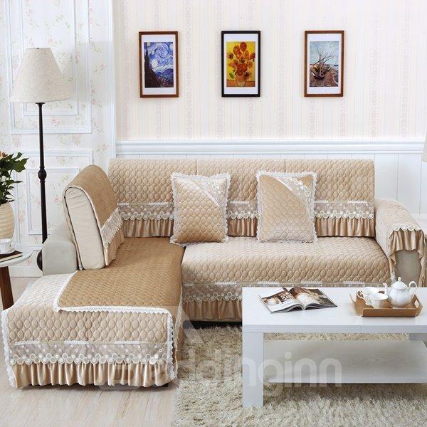 Beige Polyester Fiber European Style Lace Edge Four Seasons Slip Resistant Sofa Covers