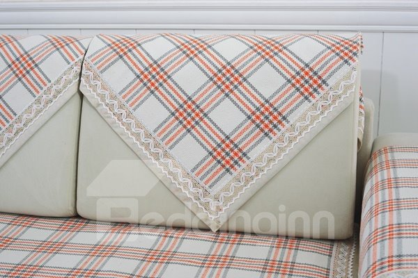 Simple Style Orange and White Plaid Print Four Seasons Slip Resistant Sofa Covers