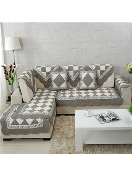 Unique Design Grey and White Plaid Print Cushion Slip Resistant Sofa Covers