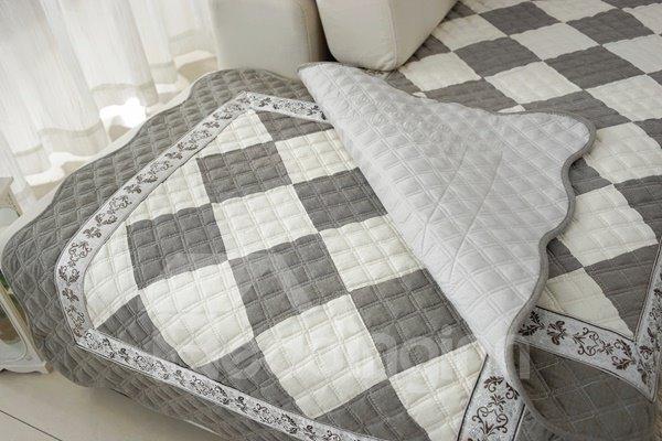 Unique Design Grey and White Plaid Print Cushion Slip Resistant Sofa Covers