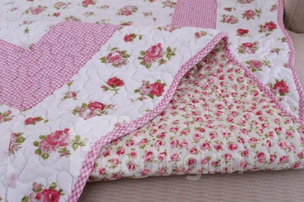 Lovely Pink Quilting Seam Little Roses Print Cotton Washable Slip Resistant Sofa Covers